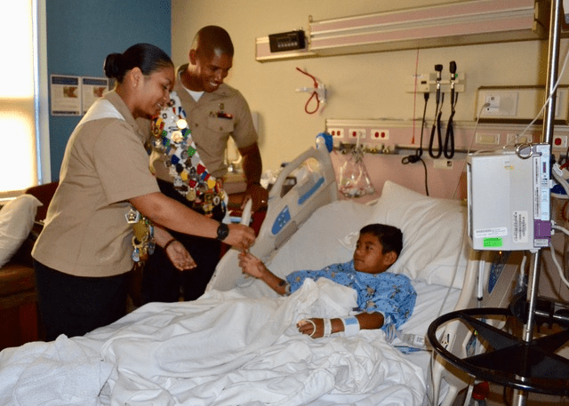 MAs in hospital with a child-min